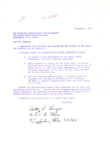 Letter from constituent to Glenn English concerning the Equal Rights Amendment