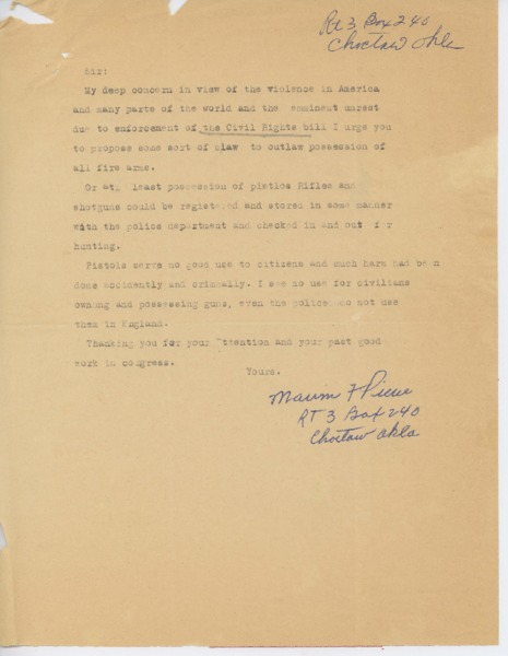 Letter from Marvin F. Pierce to Carl Albert