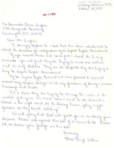 Letter from constituent to Glenn English concerning the Equal Rights Amendment<br /><br /> <br /><br />