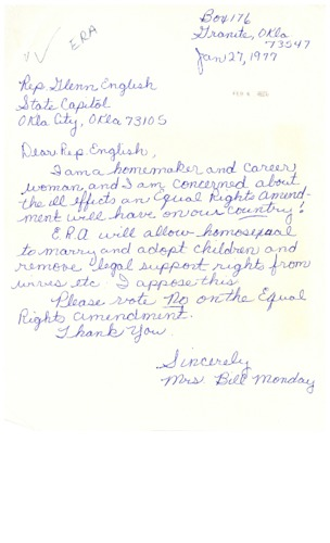 Letter from constituent to Glenn English concerning LGBTQ+ issues and the Equal Rights Amendment