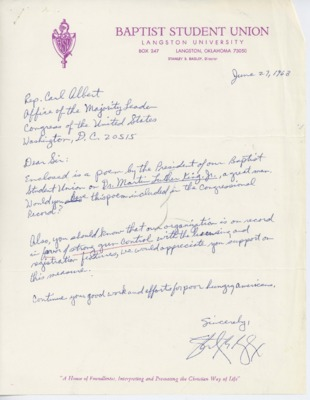 Letter from Stanley B. Bagley to Carl Albert