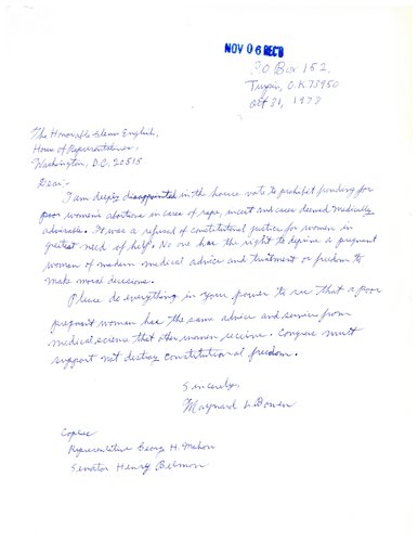 Letter from constituent to Glenn English concerning reproductive rights - abortion