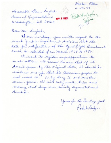 Letter from constituent to Glenn English concerning the ratification of the Equal Rights Amendment extension