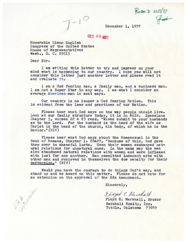 Letter from constituent to Glenn English concerning the Equal Rights Amendment and Homosexuality