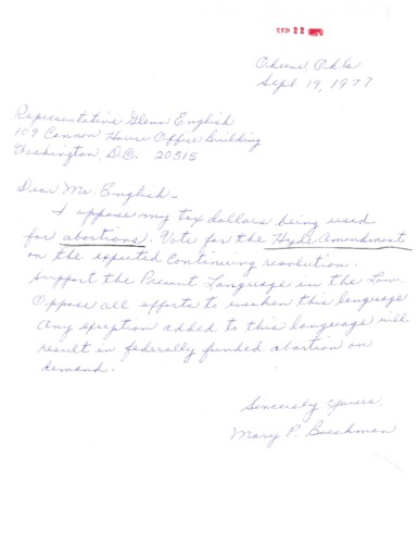 Letter from Mary to Glenn English  concerning the Hyde Amendment.
