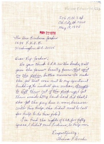 Letter from Thelma Goode to Representative Barbara Jordan (D-TX) about the Equal Rights Amendment (E.R.A.)