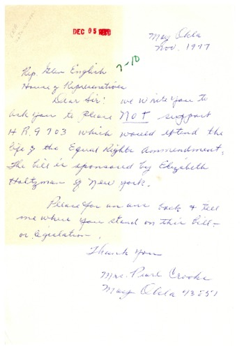 Letter from constituent to Glenn English concerning the Equal Rights Amendment extension HR 9703
