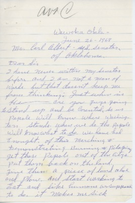 Letter from Elmer Staggs to Carl Albert